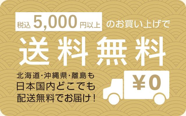 5,000円以上お買い上げで送料無料!