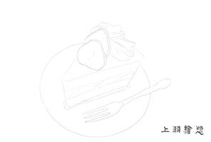 ぬり絵用線画07_ショートケーキ